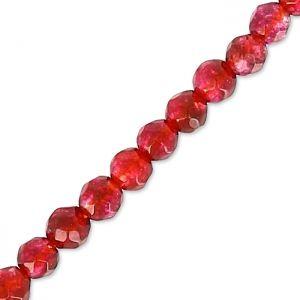 Tonde sfaccettate mm.  2 Red/Fuschia Agate x38cm : Perle tonde sfaccettate. Attenzione, ogni pietra è unica e puo`essere molto differente della foto.