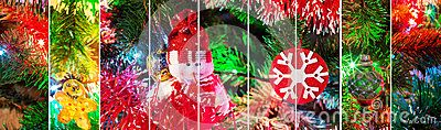 Collage stripes of happy new year holiday with evergreen tree, snowman and snowflake toys and colorful illumination