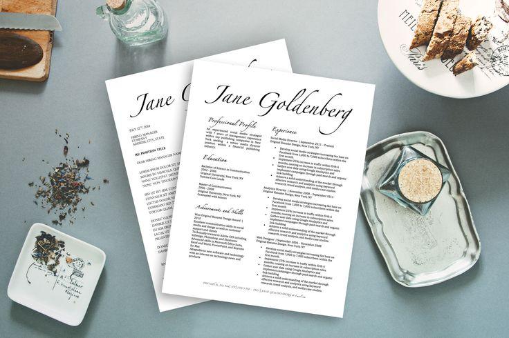Jane Goldenberg FANCY resume template for Microsoft Word