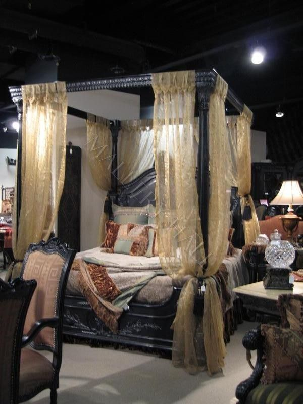 old world egyptian style black canopy bed the victorian carving and scrollwork has to go - Canopied Beds
