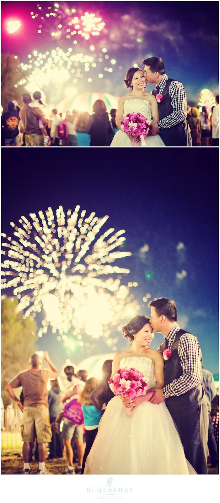 Fireworks at the county fair make for fun and unique engagement pictures!
