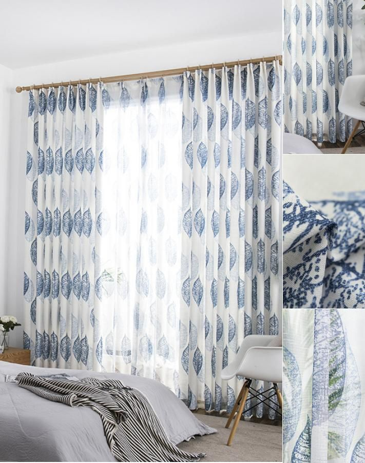 Navy Blue Leaf Country Scandinavian Nordic Living Room Curtains With Sheer Blue Curtains Living Room Curtains Living Room Living Room Decor Curtains
