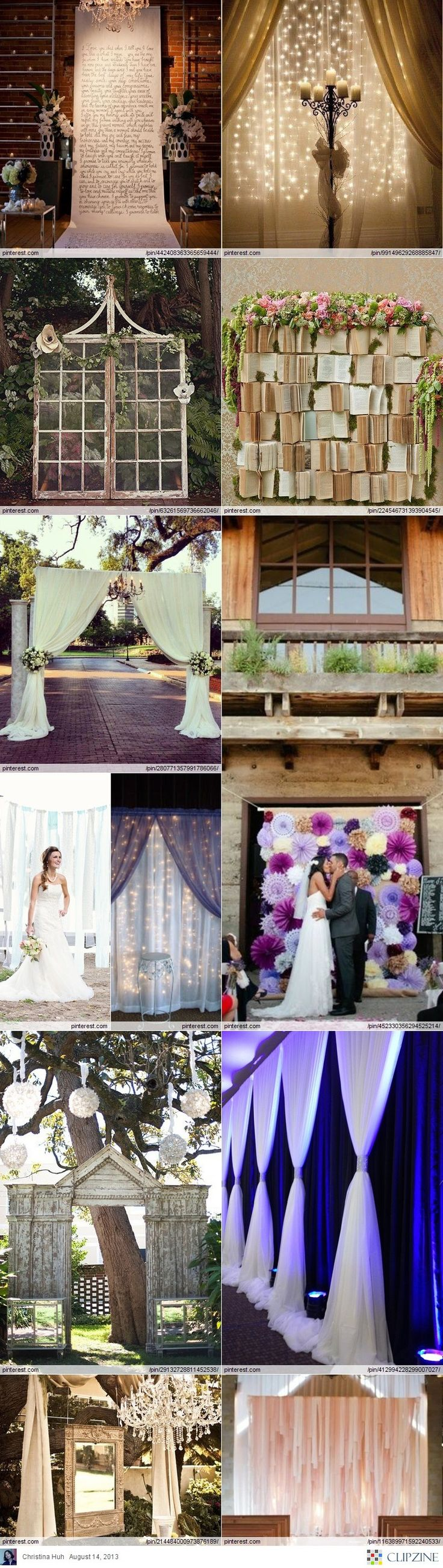 Wedding Backdrop DIY Ideas ***A Book backdrop, how sweet is that???