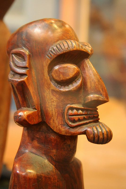 Museo arqueológico, La Serena, Chile. Carved wood handcraft from Easter Island, Chile