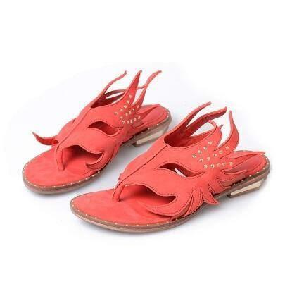 Women Gladiator Summer Slippers Red Suede Studded …
