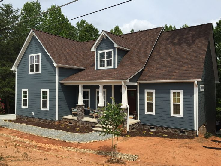 Blue Craftsman Home, James Hardie Evening Blue, Brown Roof, Ledgestone, Pea  Gravel · Siding ColorsExterior House ...