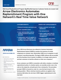 High tech company Arrow Electronics, realizes major benefits from going demand driven and automating their replenishment processes.