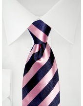 Stropdas strepen marineblauw/roze