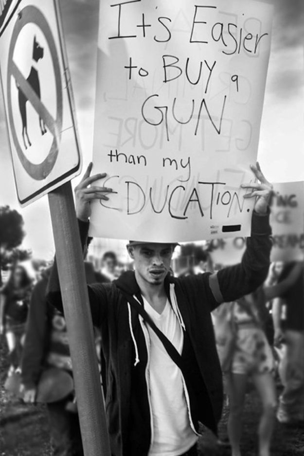 It's easier to buy a gun than my education