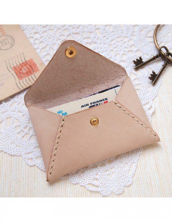 Nude Leather Envelope Card Holder
