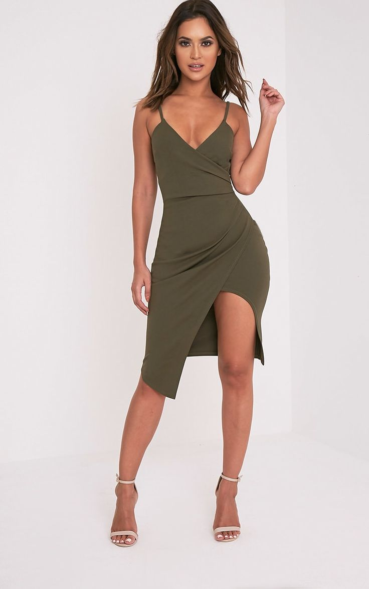 Khaki Wrap Front Crepe Midi DressThis khaki wrap dress is perfect for all of those special occasi...