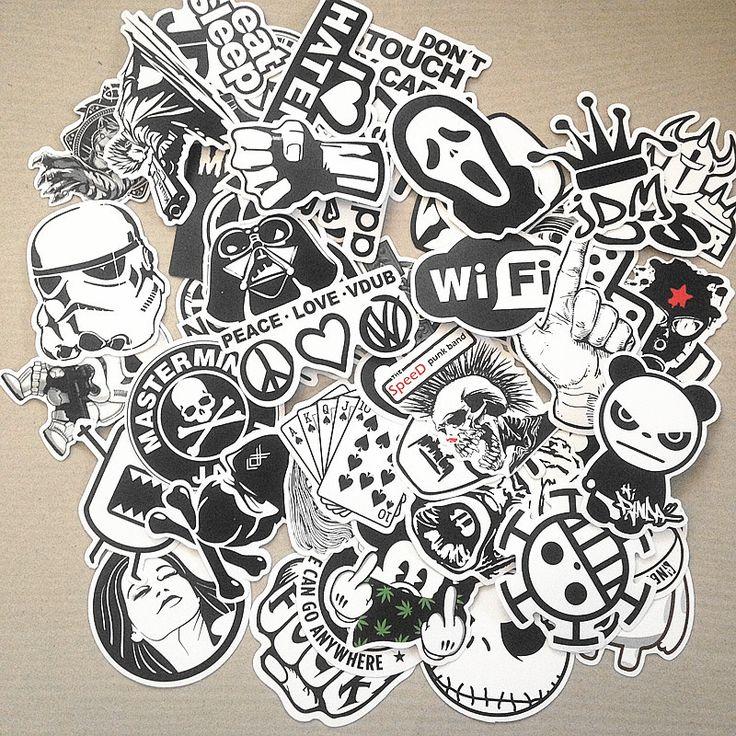 100 stücke schwarz und weiß gemischte Cartoon-aufkleber für laptop skateboard fahrrad koffer pvc Rock Design Diy pop