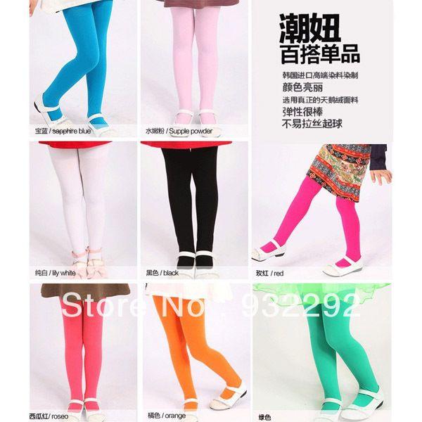 Детские девочки бархатные леггинсы брюки цвета конфеты трусы колготки 5 - 12 т