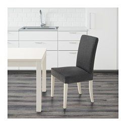 IKEA - HENRIKSDAL, Chair, Dansbo dark grey,  , , You sit comfortably thanks to the high back and seat with polyester wadding.The chair legs are made of solid wood, which is a durable natural material.The washable cover to HENRIKSDAL chair frame is easy to put on and take off.