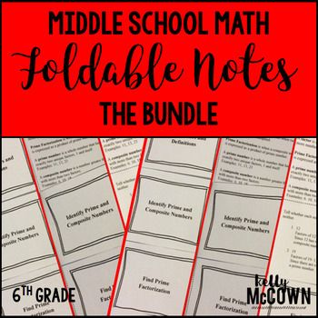Middle School Math Foldable Notes: Grade 6 BUNDLE