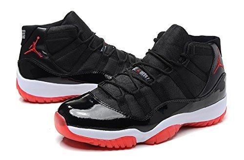 "Air Jordan 11 Retro HIGH ""BRED"" Black/True Red/White Patent Leather Basketball Men Shoe Size (9.5)"