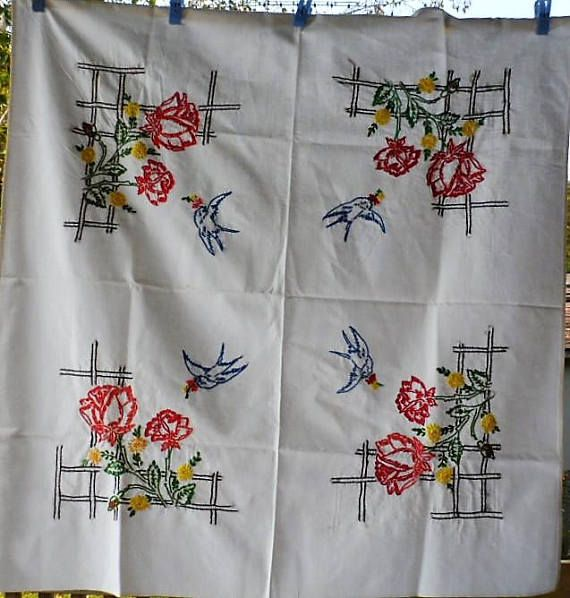 1950s Vintage Square Hand Made N Hand Embroidered White