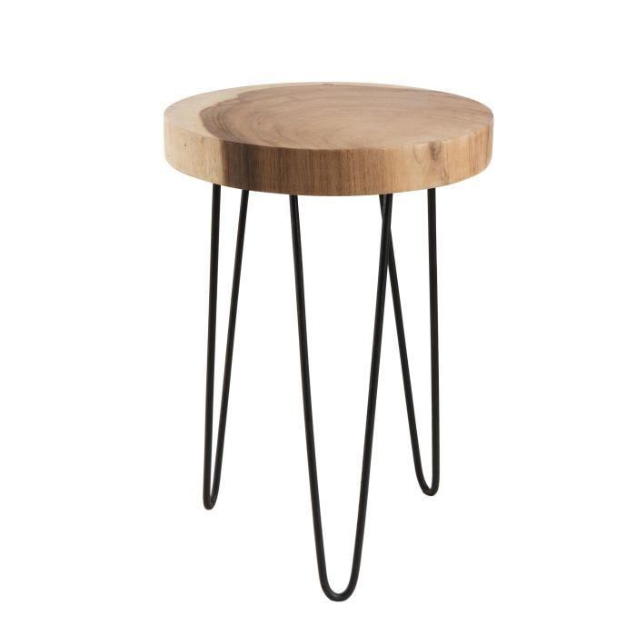 Table d'appoint ronde ethnique en bois mungur massif naturel – Pieds épingles scandi en métal – Ø35 cm