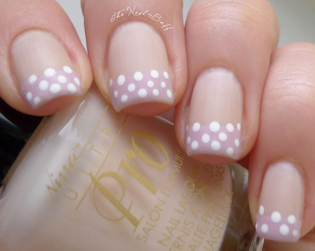 Polka Dot French -- this makes me happy: Abop Inspired, French Manicure, Nail Buff, Polka Dots, Nailart, Nail Designs, Nails, Nail Art