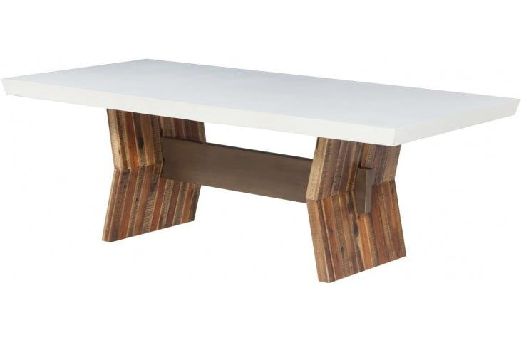 Astoria White Concrete Rectangular Dining Table With Images