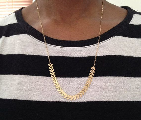 Gold Chevron Arrows Necklace by PABJewellery on Etsy #christmasgift #gifts