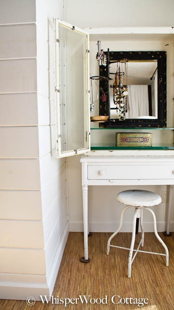WhisperWood Cottage: Vintage Medical Cabinet Used as a Jewelry Organizer and Vanity--even a bunsen burner used to hang jewelry!!