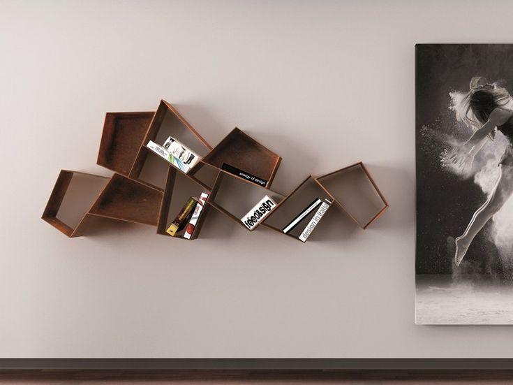 Floating metal bookcase W SU LINE etimodesign Collection by Ronda Design | design Diego Collareda