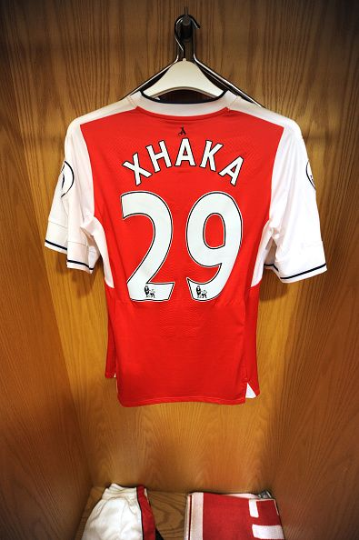 #EPL2016 Granit Xhaka's shirt in the Arsenal changing room before the Premier League match between Arsenal and Liverpool at Emirates Stadium on August 14 2016...