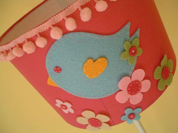 birdie lamp shade (koalita craft) using fabric scraps for the bird and flowers.