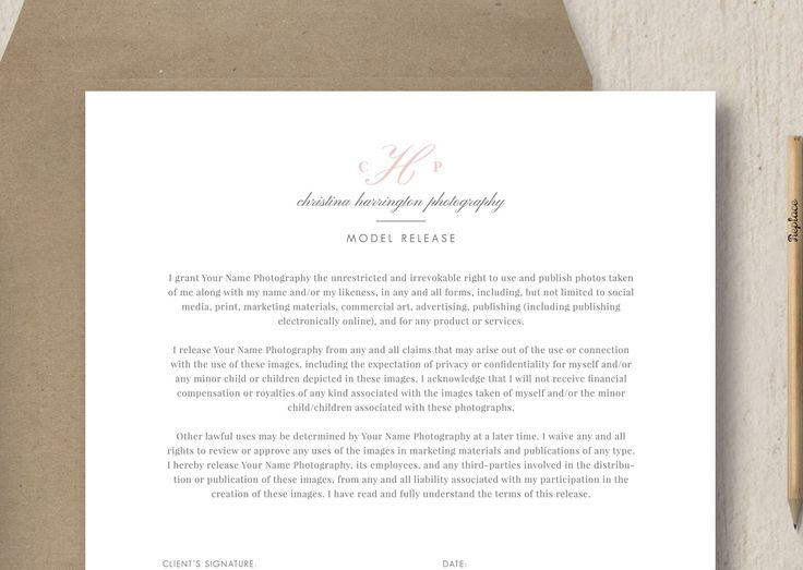 Photographer Model Release Form Template  Give your photography studio and clients peace of mind with this banded model release form. This customizable Photoshop template works with minors as well as adults. Our photography forms are fully customizable, allowing you to update the colors, text, and