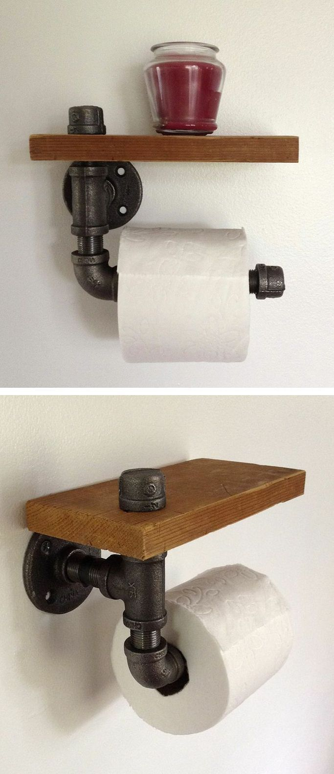 Pipe-fitting Toilet Paper Holder with Shelf  #WoodWorking   – wood workings bedroom