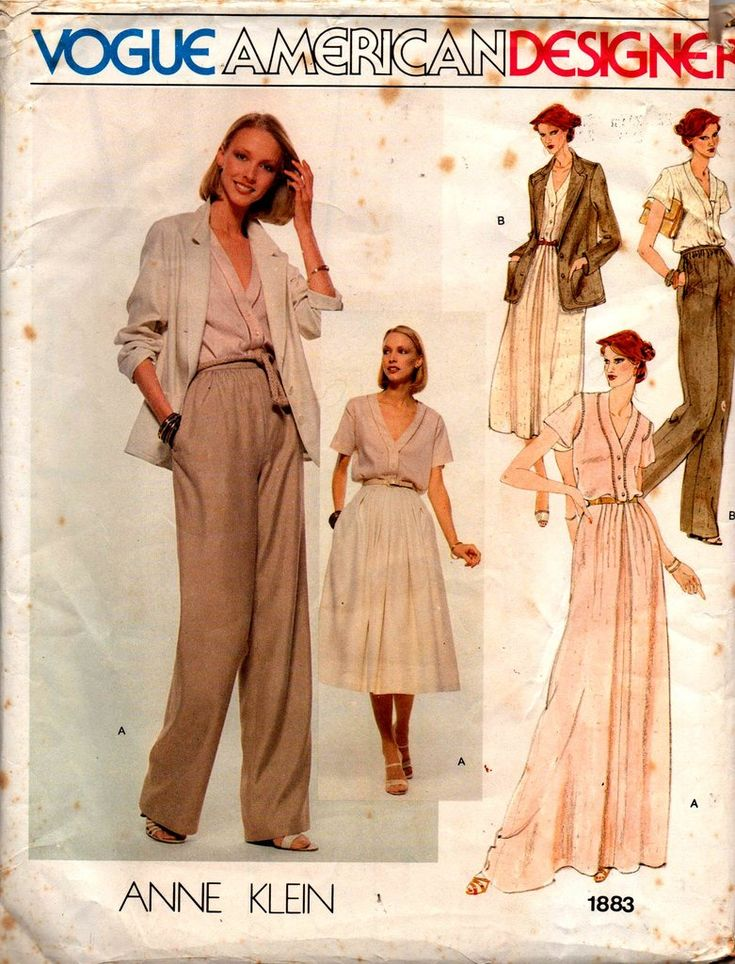Vogue American Designer 1883 ANNE KLEIN Womens Jacket Blouse Pants & Skirt 70s Vintage Sewing Pattern Size 10 Bust 32 1/2 inches UNCUT Factory Folded