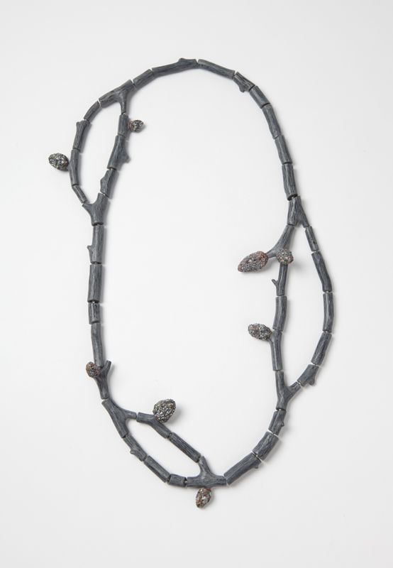 """Raduga Buds 2"", necklace, 2013. Wood, graffiti, silver, steel wire. Photo: Mirei Takeuchi"