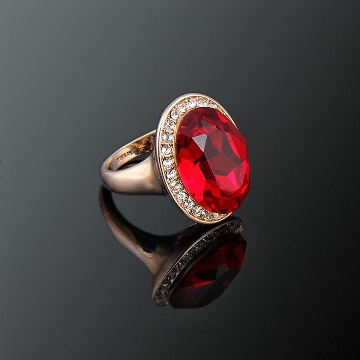 Saray Yüzük - Avusturya kristali - Swarovski taşlar - Altın kaplama - Aksesuar - Yüzük - Dalya Takı Austrian Crystal - Swarovski stones - Gold plated - Rose gold - Accessory - Ring - Solitaire Red Ring