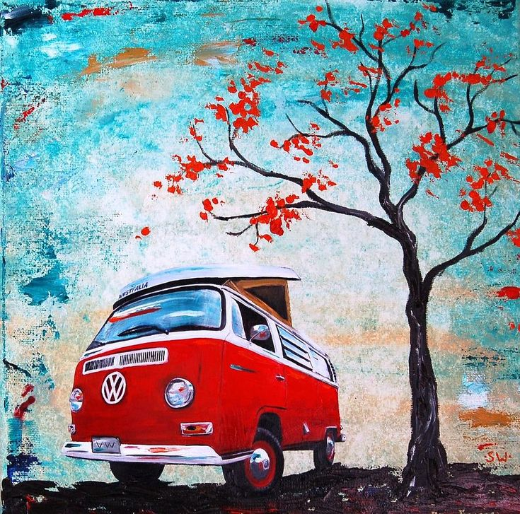 1970 Red Volkswagen Camper Bus Painting by Sheri Wiseman