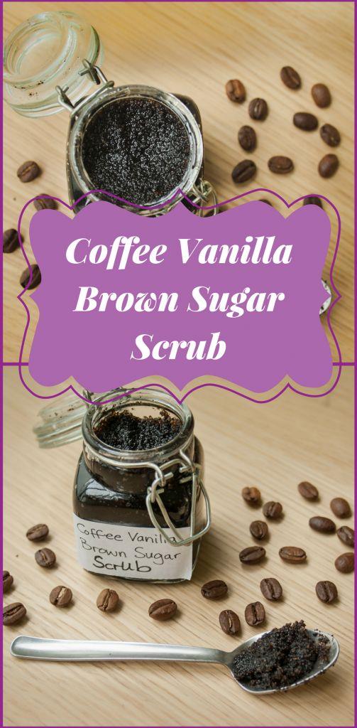 An easy to make Coffee Vanilla Brown Sugar Scrub. Wonderfully refreshing and makes the shower smell amazing. #sugarscrub #bodyscrub #skincare #body #beauty #coffeescrub #diy #homemade