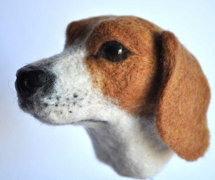 "Needle felted Beagle 3D  3 1/2 "" high"