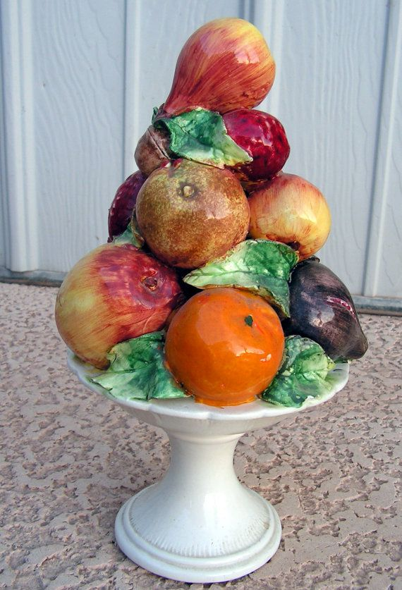 Vintage Ceramic Fruit Centerpiece Pottery Fruit