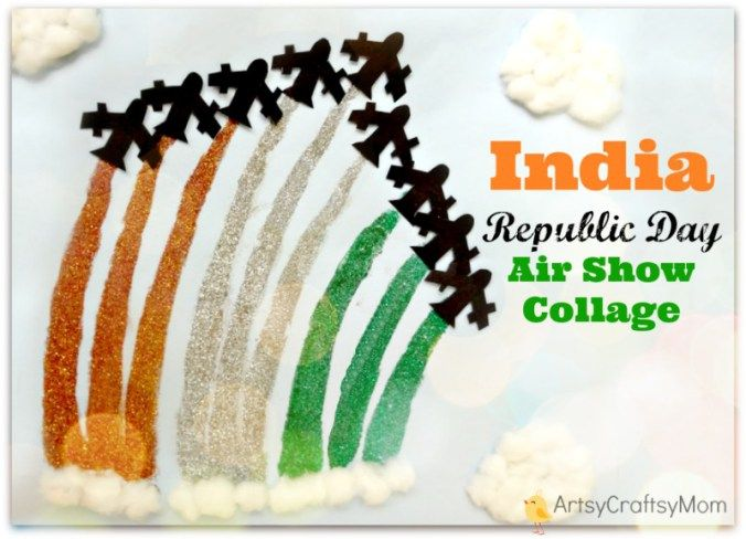 India Republic Day Air Show Collage Craft - 50+ Ideas for India Independence Day Party, August 15th - craft, Books, recipes & national symbol craft - Tiger, lotus, mango, banyan tree, peacock crafts