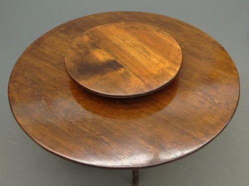 livina teak round dining table with granite lazy susan von signature hardware ernte tabellen