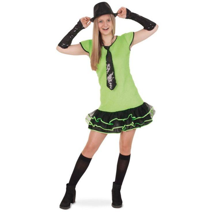 Neon Rüschen Kleid grün für Kinder