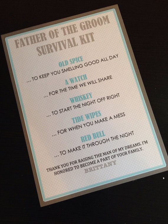 Father of the Groom Survival Kit 5x7 Postcard Hard by MNDFavors (can adapt for FOB)