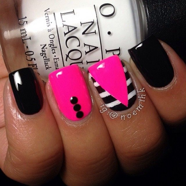 hot pink, black and white nail art - 25+ Trending Pink Black Nails Ideas On Pinterest Black And Nude