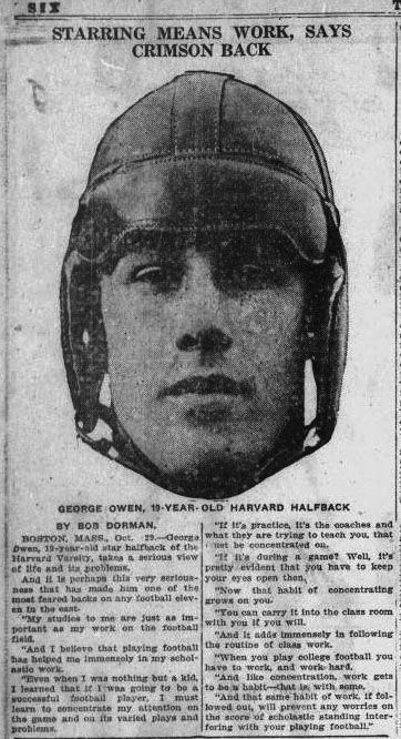 Harvard football, hockey, and baseball  star George Owen would go on to play for multiple NHL teams during his long career. Article from the Pensacola journal-October 30, 1921.