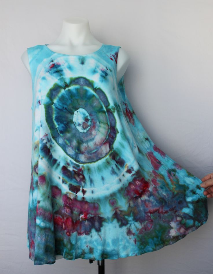 Ladies XL sleeveless tunic ice dye - Cotton Candy mega eye by A Spoonful of Colors Find this item on https://aspoonfulofcolors.com