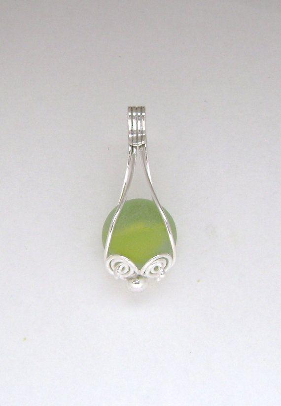 Sea Glass Jewelry  Sterling Yellow Sea Glass by SignetureLine