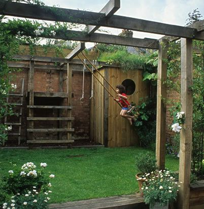 Small space solution - beams. For plants to climb, for hanging pots, and for a swing..genius! I know my sweetie could make this happen!