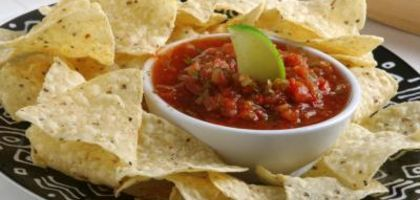 A plate of chips and salsa