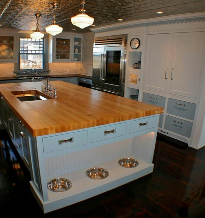 Here is a really cool island to accommodate your beloved dogs! Credit to Artisan Kitchens in Massachusetts. It would be very easy to modify this design to accommodate your individual needs.