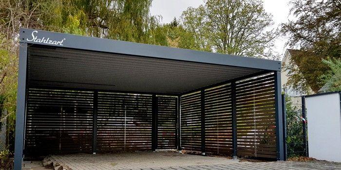 Doppelcarport Metall Holz Stahl Abstellraum Modern Anthrazit Stahlzart In 2020 Carport Metall Carport Carport Stahl
